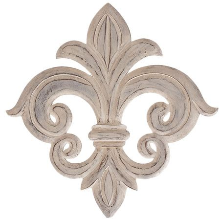 Weathered wood wall decor with a fleur-de-lis design. Product: Wall décor    Construction Material: Wood