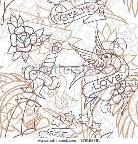 Старая школа татуировки бесшовные модели.  Мультфильм векторные элементы в стиле забавной: якорь, кинжалом, череп, цветок, звезда, сердце, алмаз, и череп проглотить.  Doodle в тетрадку стиле