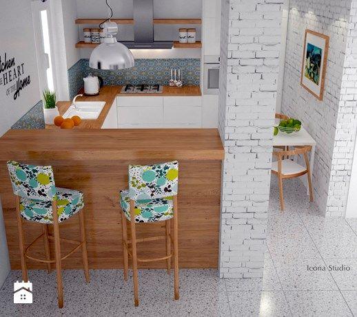 Kuchnia skandynawska - metamorfoza - Mała otwarta kuchnia w kształcie litery u w aneksie, styl skandynawski - zdjęcie od Icona Studio
