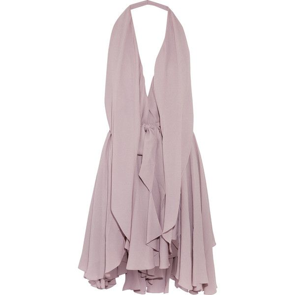 Maria Grachvogel Yuuna layered crepe dress ($850) ❤ liked on Polyvore featuring dresses, lilac, open back dresses, double layer dress, loose dresses, tie waist belt and crepe fabric dress