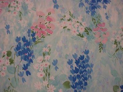 Vtg Retro Cannon TWIN FLAT Sheet EUC Asian Floral 60s 70s Blue Pink watercolors