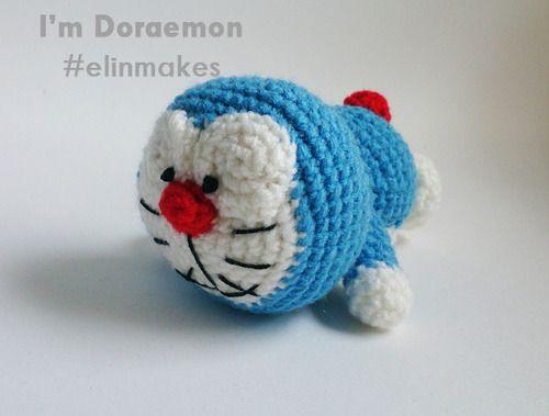 FREE AMIGURUMI PATTERN !!! - Laying Down Doraemon - Elin Makes - Handmade Amigurumi (Malaysia)