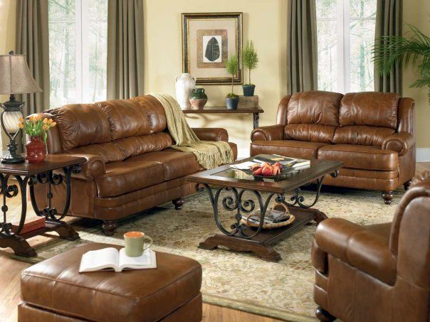 Brown Leather Sofa Decorating Ideas | Iinterior Design For A Living Room  With A Fireplace Decorating