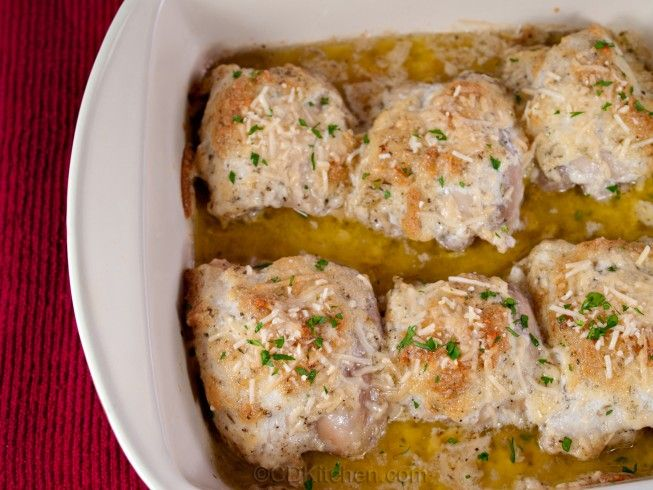 A recipe for Baked Parmesan Chicken Thighs made with mayonnaise, Parmesan cheese, Italian seasoning, boneless, skinless chicken thigh, salt