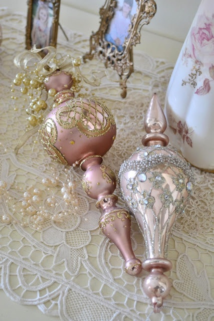 Pink ornaments, pearls & lace are going on my flocked tree this year!