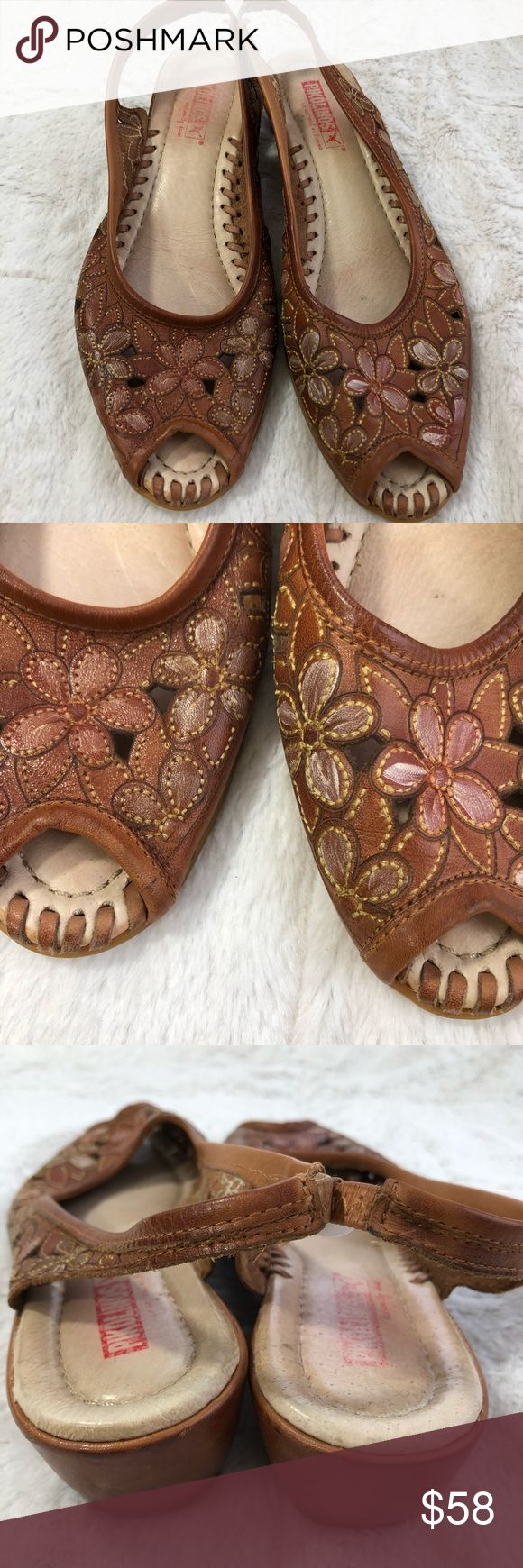 🌍Pikolinos Leather Floral Slingback Peep Toe Pikolinos Leather Floral Slingback Open Toe Sandal  These super high quality sandals are pretty impressive- shoes just aren't often made this way anymore. Beautiful floral open detail in tan/brown leather, with a leather laced construction that will stand the test of time. Very low heel. Spanish shoe manufacturer that specializes on n high quality product while making a positive impact on underdeveloped communities and minimizing their…