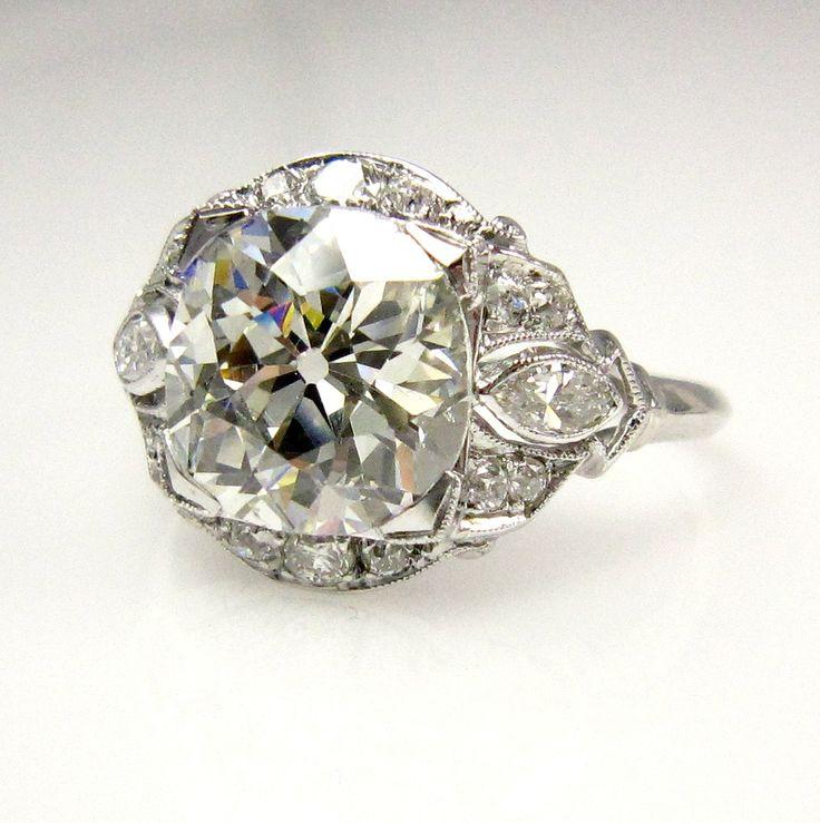 1915s... 3.32ct Antique Vintage Old Mine Cusion Cut Diamond EGL USA Engagement Wedding Anniversary Ring in Platinum