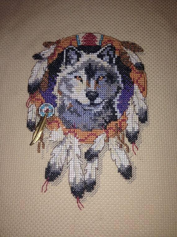 Wolf Dream Catcher Model Cross Stitch Plastic Canvas