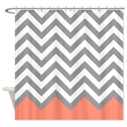 Grey Coral Chevron Shower Curtain Zig Zag Designs    #coralchevronshowercurtainglam  #showercurtainglamour