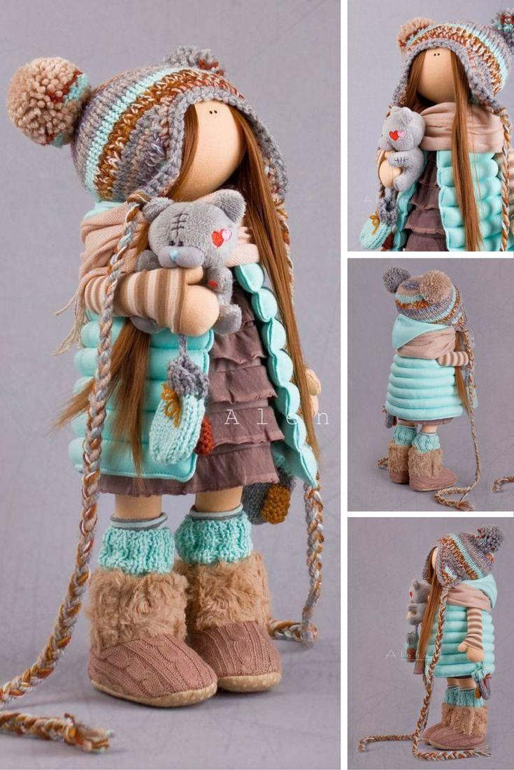 Tilda doll Handmade doll Cloth doll Soft doll turquise doll Autumn doll Fabric doll Textile doll Interior doll Art doll by master Alena R