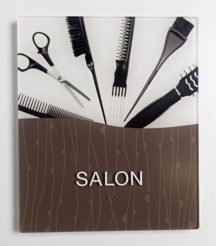 Vivid Interior ADA Room ID Salon Sign with photo