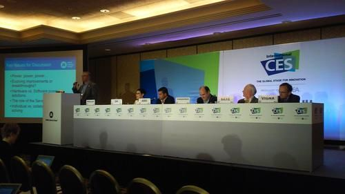 The White Wall of CES: Looks very imposing to me!  Panel members of the 'Getting to Low Power and Maximum Functionality through Sensor Fusion' at the 'Sensors and MEMS Technology' track at the International Consumer Electronics Show (CES 2015, June 6-8, Las Vegas)
