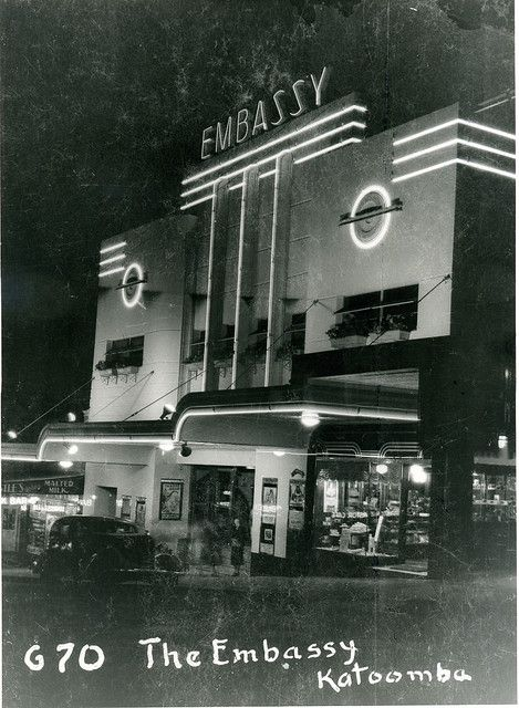 Embassy Theatre by night, Katoomba, 1938 with milk bar