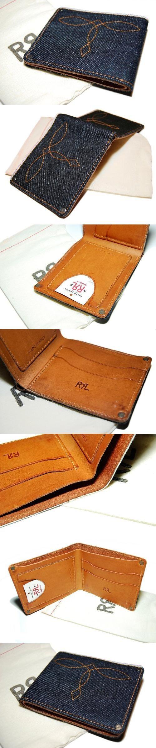 Ralph Lauren RRL Mens Western Vintage Distressed Denim Leather Card Wallet Italy, , #Apparel, #Wallets