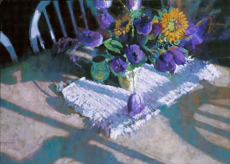 "C. M. Dudash. ""Purple Tulips and Sunflowers"" - oil on linen"