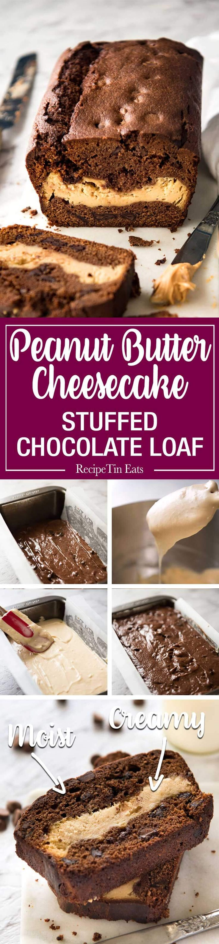 Peanut Butter Cheesecake Stuffed Chocolate Loaf - Moist chocolate quick bread…