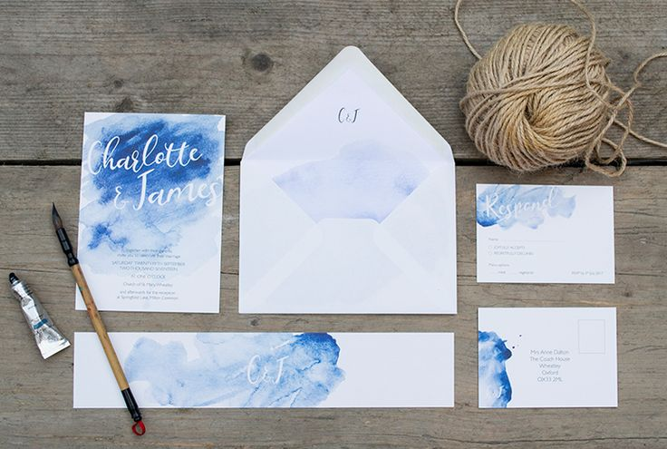 Inky wedding stationery collection by A Little Pigment #watercolour #wedding #invitation #weddinginvitation #blue #watercolourwash