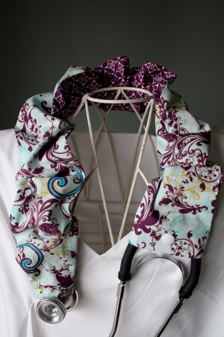 Touch of Turquoise Blue and Plum Boutique Stethoscope Cover. $10.00, via Etsy.
