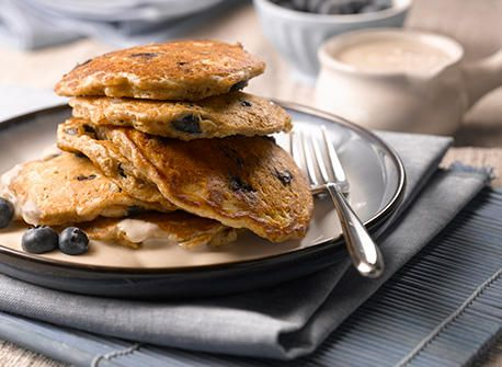 Blueberry and Oatmeal Pancakes with Maple Yogurt Topping