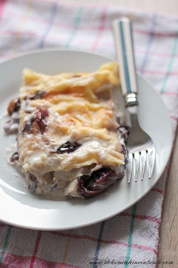 Le lasagne... chi di noi non le adora, rosse, bianche, vegetariane, alla carne o al pesce...insomma ci sono tantissime versioni, ma questa è una delle preferite di mio marito. LASAGNE AL RADICCHIO E