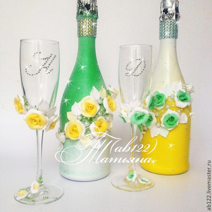 Купить Свадебный набор для яркой летней свадьбы - желтый, свадебные бокалы с лепкой, свадебное шампанское