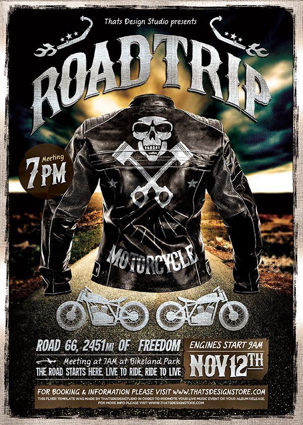 Motorcycle Road Trip Flyer Template Psd Flyer Templates Pinterest