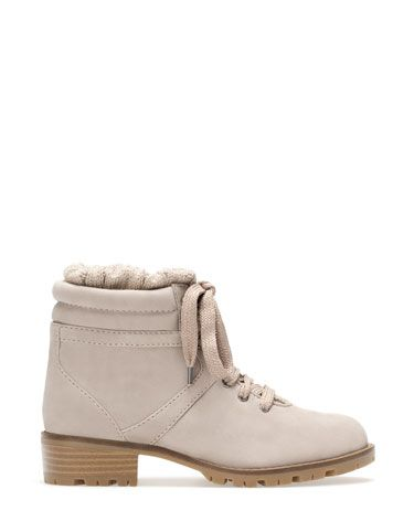 Flat mountain ankle boots with inside sock detail from Stradivarius 2014 Baby pink