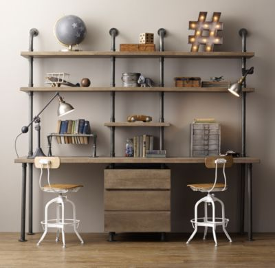 RH Baby & Child's Industrial Pipe Double Desk & Shelving with Drawers: Sturdy steel pipes and matching cast fittings serve as the structure for our hardworking pieces, while warm wood planks provide support for books and a workspace for the industrious.