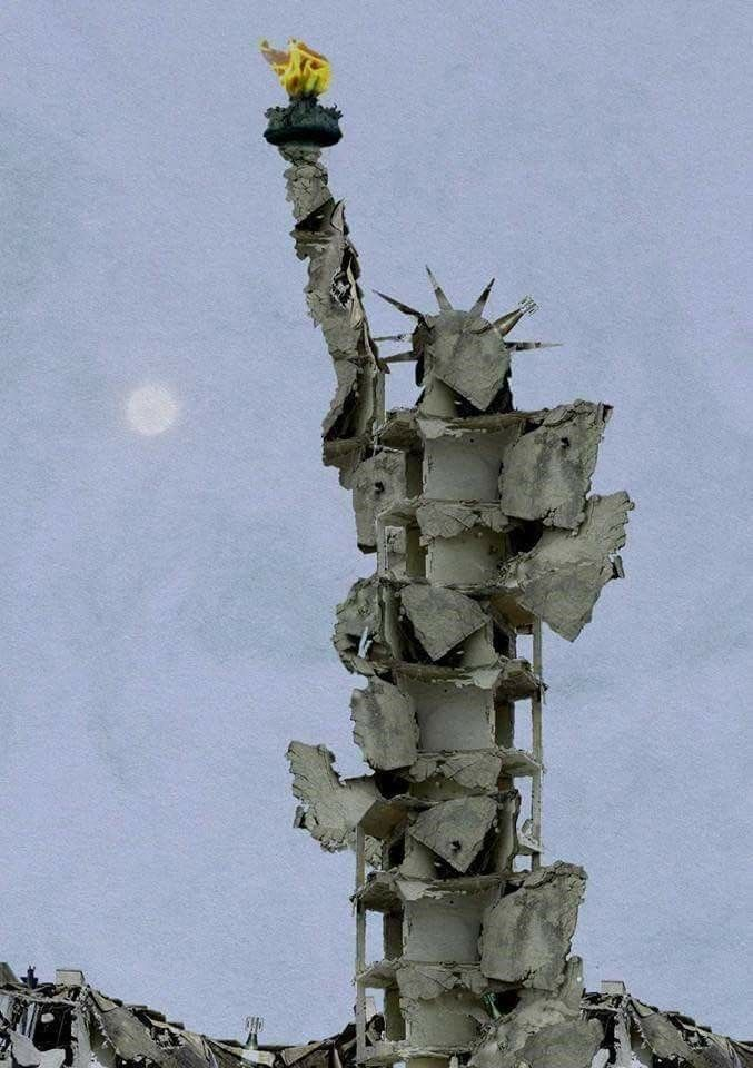 Statue of Liberty made from bombed rubble of Aleppo, by Syrian artist Tammam Azzam. Devastating