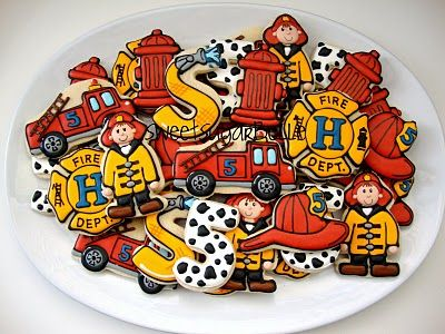 Fireman Cookies for boys! bright & colorful http://www.sweetsugarbelle.com/blog/2010/11/for-a-little-sunday-fun/