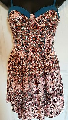 womens Band of Gypsies dress small pink blue summer floral corset bodice