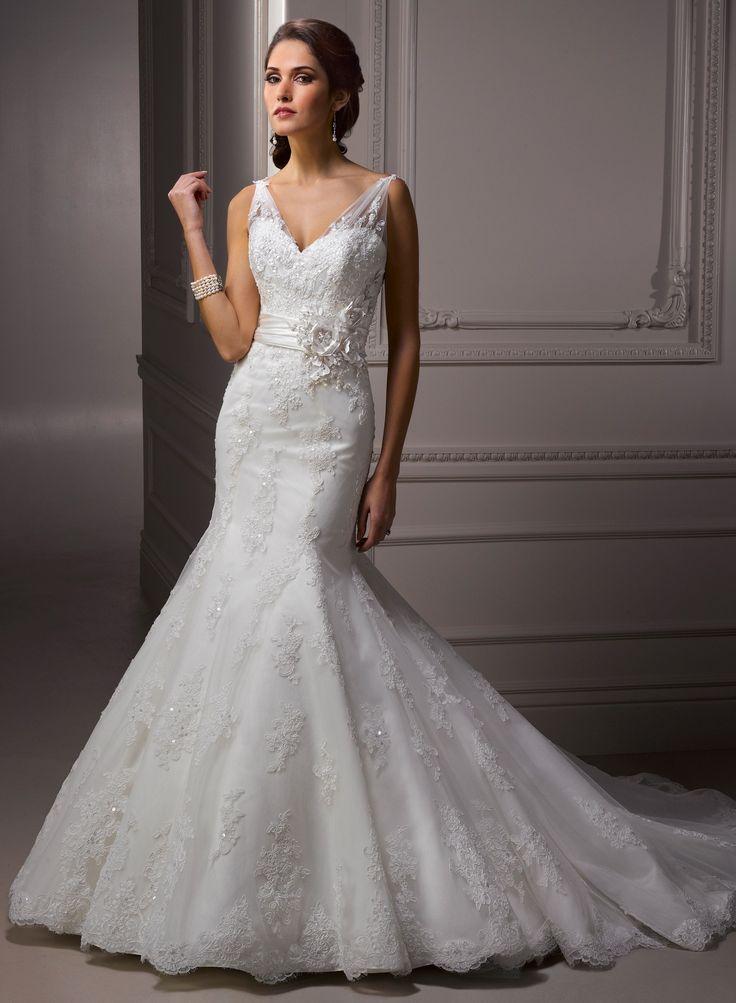 Lace V Neckline Mermaid Wedding Dress