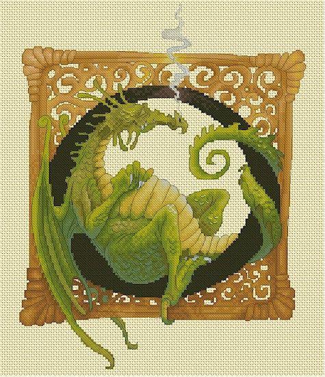 Cross Stitch Chart Dragon Illuminated by LenaLawsonNeedleArts