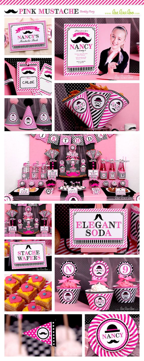 ♥ Pink Mustache Party Theme ♥ II Shop Here: https://www.etsy.com/shop/LeeLaaLoo/search?search_query=b94&order=date_desc&view_type=gallery&ref=shop_search II Party Styling: LeeLaaLoo - www.leelaaloo.com  II Party Printable Design & Decoration: LeeLaaLoo - www.etsy.com/shop/leelaaloo