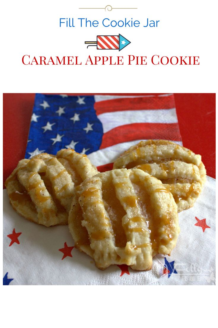 What's more American then Apple Pie?  A great dessert to bring to your 4th of July gathering or anytime for that matter.   This and that: Caramel Apple Pie Cookies #fillthecookiejar