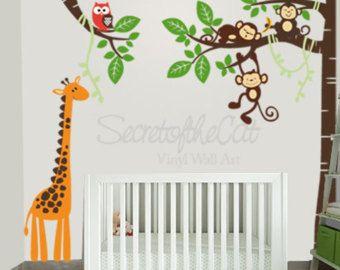 Muur stickers kwekerij  Nursery muur sticker  boom en apen
