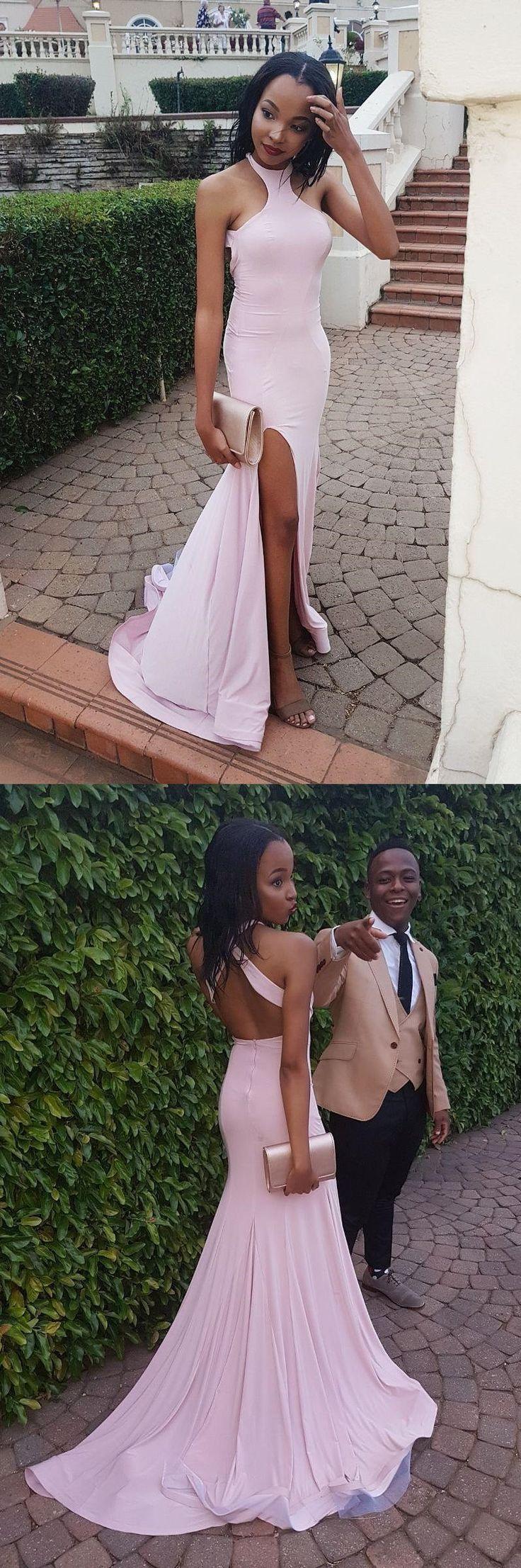 elegant pink long prom dress with slit, 2018 mermaid pink long prom dress, formal evening dress party dress