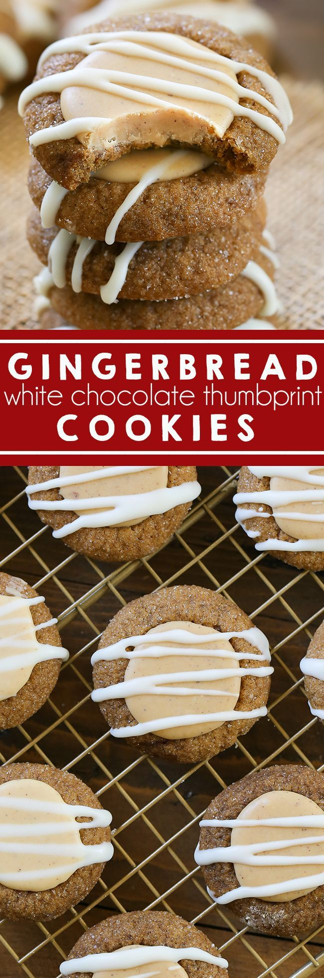 Gingerbread Thumbprint Cookies - Chewy cookies with a spiced white chocolate filling. A dessert favorite that's perfect to make for holiday parties.