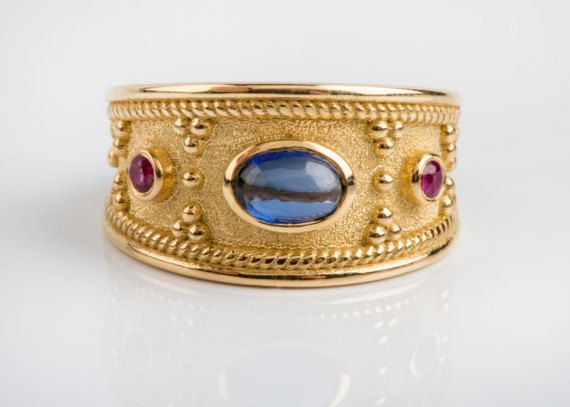 15%off 18K Gold Ring Ruby & Cabochon Stones Decorated Wide