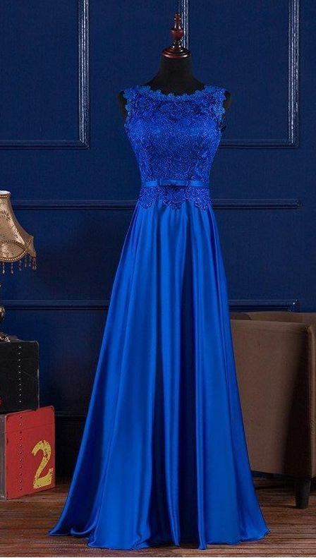 Scoop Neck Lace Satin Evening Dress, Blue Prom