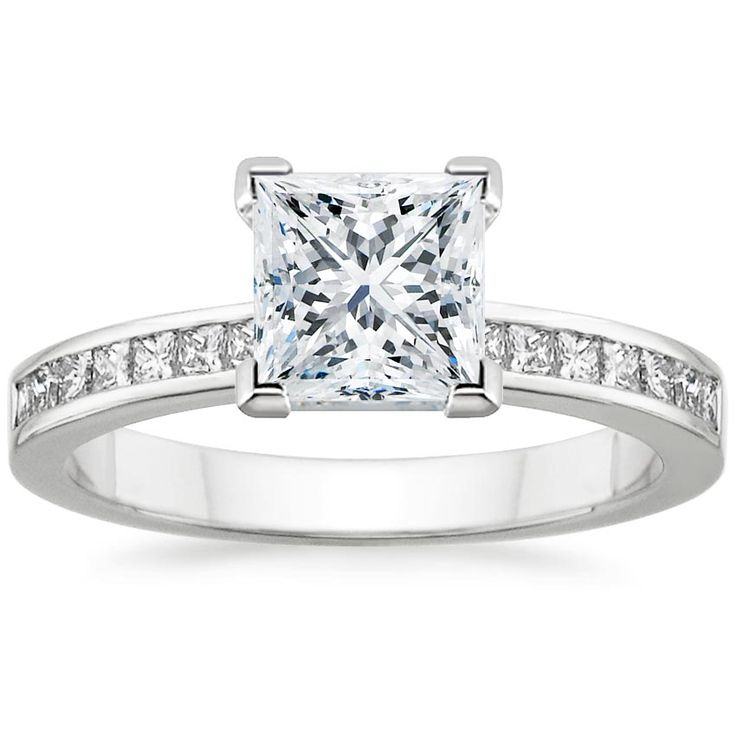 18k white gold petite channel set princess diamond ring 14 ct tw