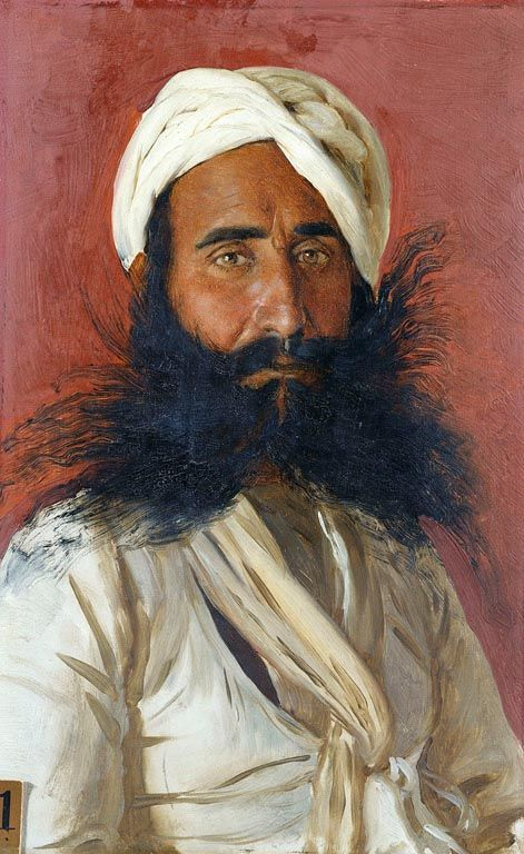 Portrait of Sarup Singh, 1886-88 by Rudolf Swoboda (1859-1914) | Royal Collection Trust......This is one of over 40 portraits from South Asia painted at the request of Queen Victoria. Sarup Singh was a Hindu aged 37, from Alaschan, Jodhpur.