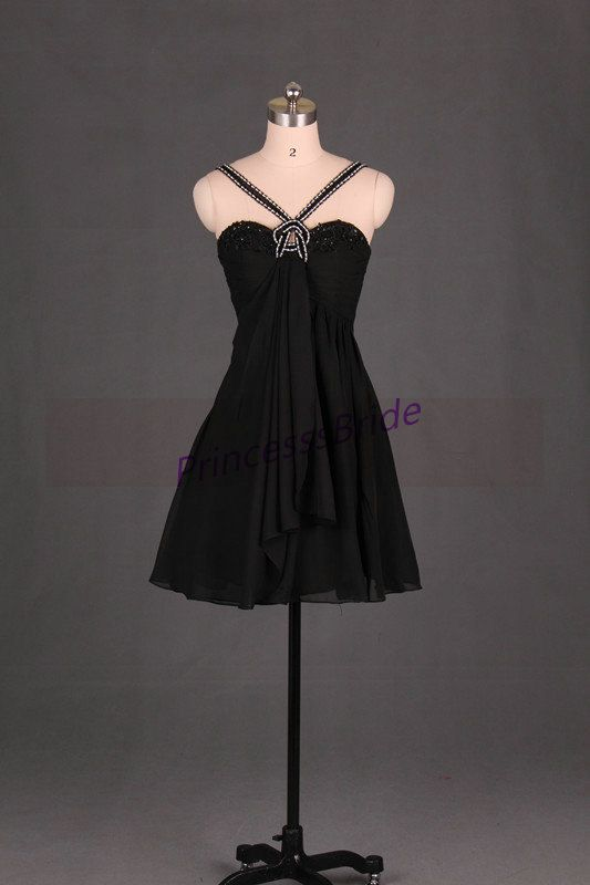 2015 short black homecoming gowns in chiffon,unique chic prom dresses under 100,latest beaded dress for holiday party hot.    This dress is fully lined, there are 7 bones in the bodice and chest pad in the bust, all colors on the color chart are available.    About this dress  1, Material:  Fabric:chiffon  Silhouette: a-line  Sleeves: sleeveless  Neckline: sweetheart    2, Color: picture color or other colors, there are 143 colors are available, please contact us for more colors.    3, Size…