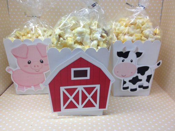Barn on a Farm Party Popcorn or Favor Boxes set por PartyByDrake