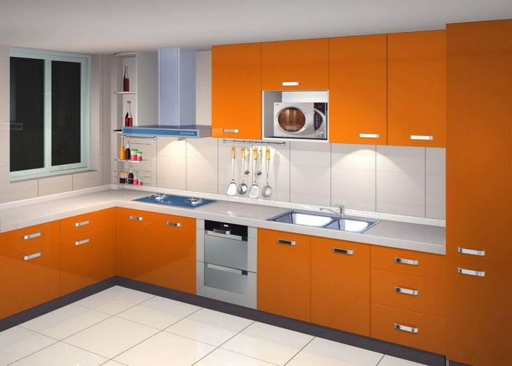 trendy orange lacquered kitchen cabinets with upper cabinets and metallic pulls and white countertop also combined with beige ceramic backsplash ti