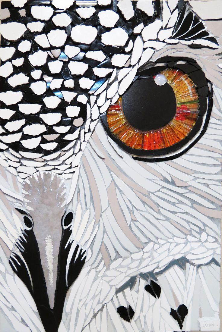 MOSAIC ART by FERNANDA JATON Mosaique. búho, coruja, owl Animal portrait