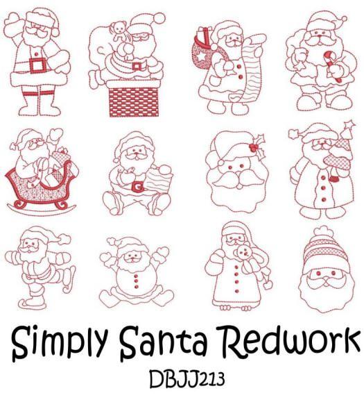 Embroidery Designs | Free Machine Embroidery Designs | JuJu Santa Redwork