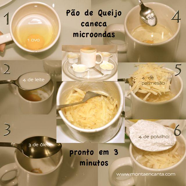 Pão de Queijo Individual em 3 minutos, na caneca e no microondas, versão individual só para mim ...