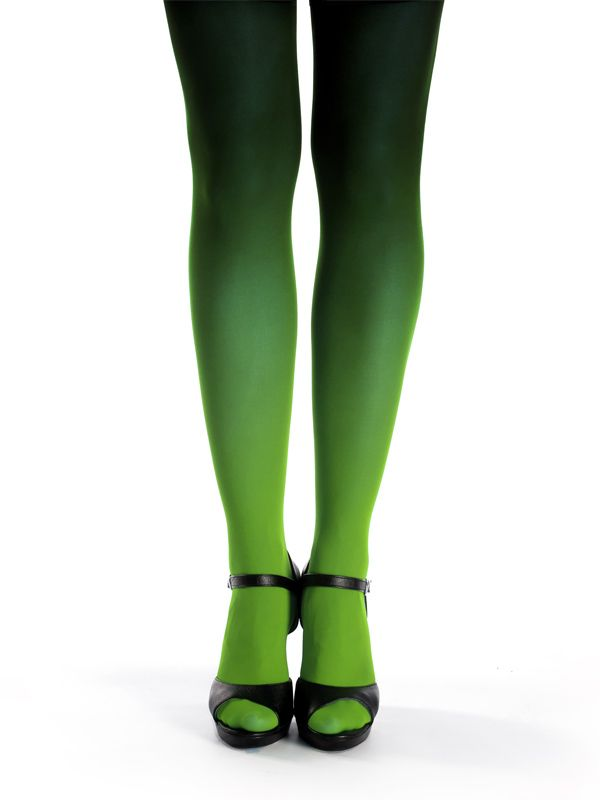 Green-black ombre tights by Virivee! Sheer toe tights, the fabric has the same thickness all the way over the leg, foot and toe.
