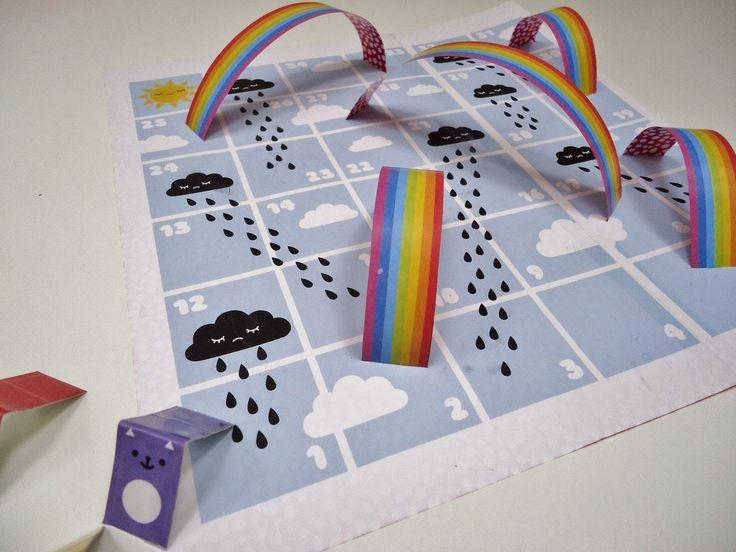 DIY papieren regenboogspelletje